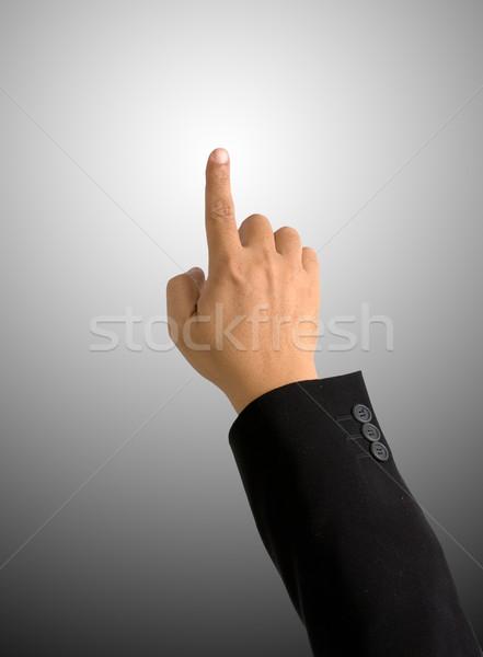 Сток-фото: указательный · палец · указывая · градиент · черный · костюм · бизнеса · стороны
