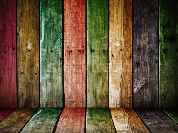 古い グランジ 木材 パネル カラフル 家 ストックフォト © nuttakit