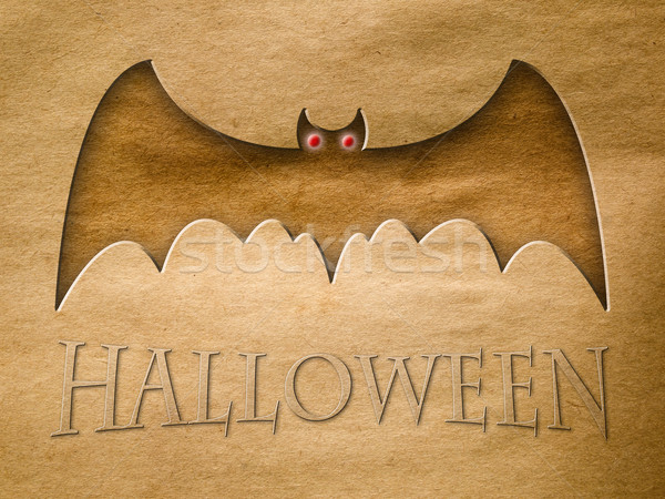 Halloween bat velho papel pardo grunge carta Foto stock © nuttakit