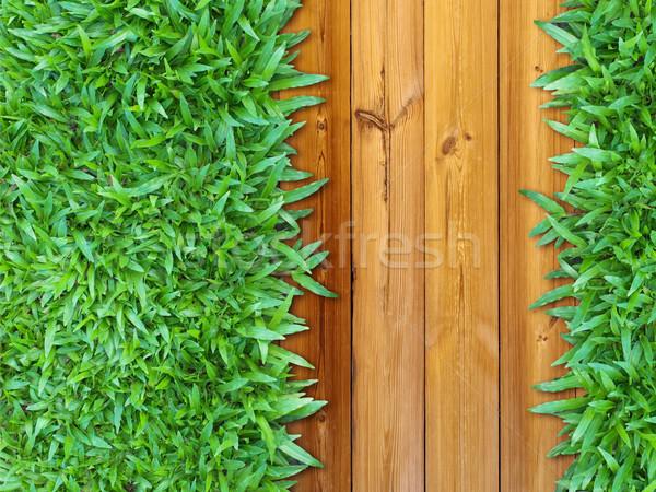 Meer groen gras hout web pagina tuin Stockfoto © nuttakit