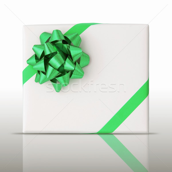 Green star and Oblique line ribbon on White paper box Stock photo © nuttakit