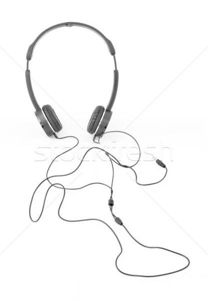 черный наушников линия сигнала человека форме Сток-фото © nuttakit