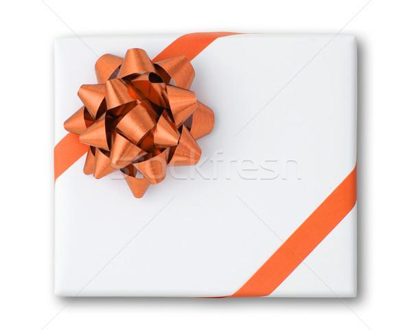 Orange star and Oblique line ribbon on White paper box Stock photo © nuttakit