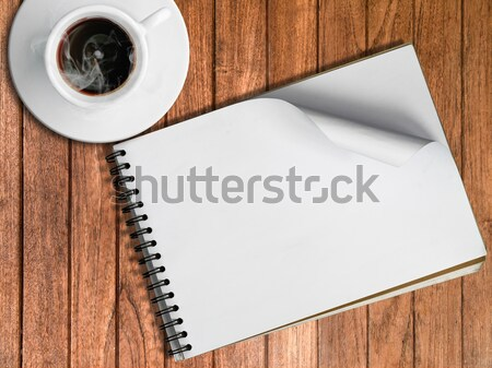 Sketch book and White cup of hot coffee Stock photo © nuttakit