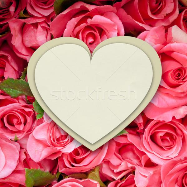 Witte papier hart vorm roze rozen Stockfoto © nuttakit