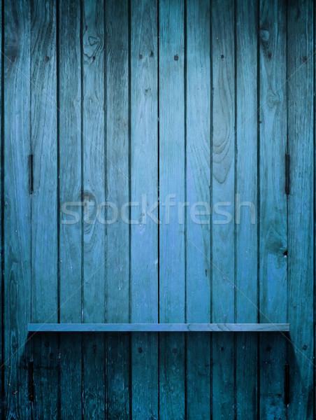 Hout Blauw plank muur licht lege Stockfoto © nuttakit