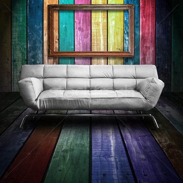 White leather sofa in Colorful Wood Room and old wood fotoframe Stock photo © nuttakit