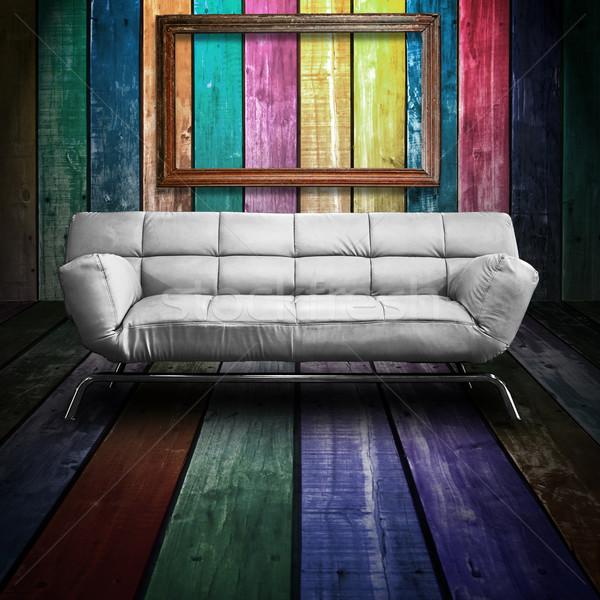 Branco couro sofá colorido madeira quarto Foto stock © nuttakit