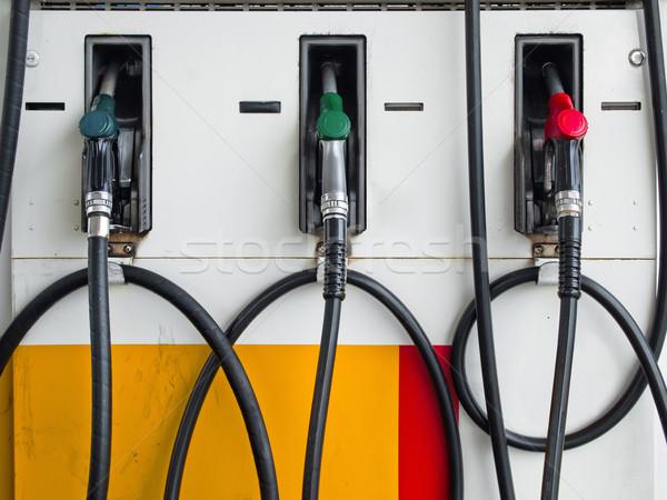 Három benzinkút pumpa elöl benzinkút kész autó Stock fotó © nuttakit