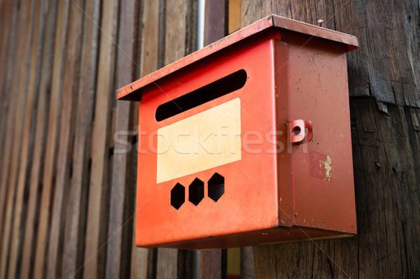 старые стали красный почтовый ящик древесины стены Сток-фото © nuttakit