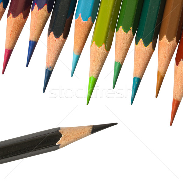 Stock photo: A Black color pancil and cool tone color pencil