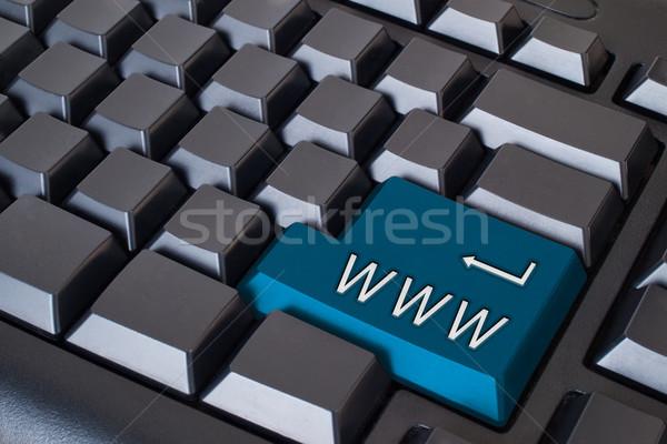 Azul world wide web botão preto teclado computador Foto stock © nuttakit