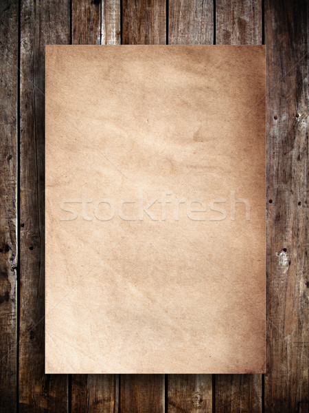Edad panel madera papel de estraza edificio pared Foto stock © nuttakit