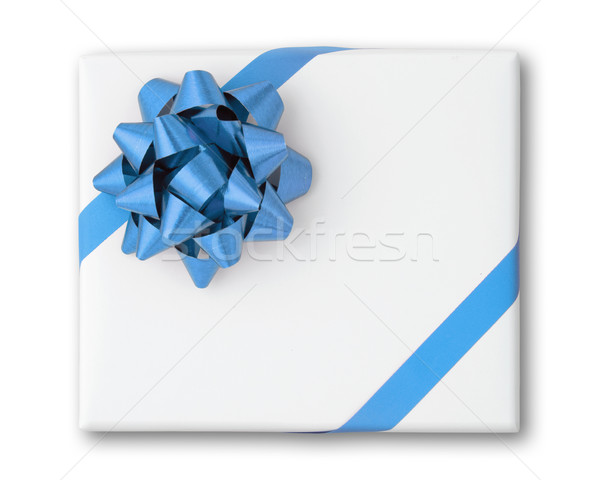 Blue star and Oblique line ribbon on box Stock photo © nuttakit