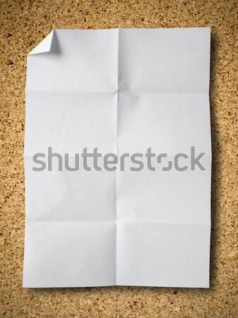 Papír részecske tábla üres fehér fa Stock fotó © nuttakit