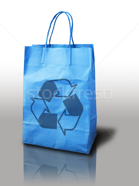 Bleu clair recycler Shopping papier sac Photo stock © nuttakit