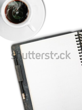 белый Кубок кофе один лице пустая страница Сток-фото © nuttakit