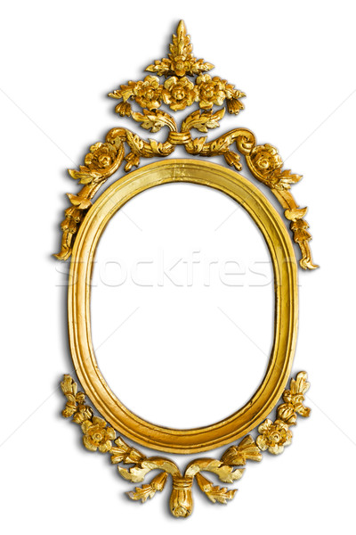 Gold carved oval wood frame with shadow Stock photo © nuttakit