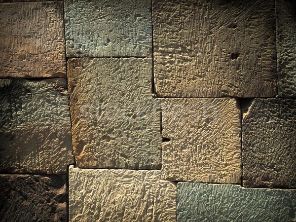 Textuur stenen muur om oude Cambodja bouw Stockfoto © nuttakit