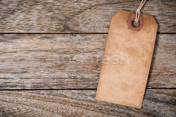 Een vintage papier label hout Stockfoto © nuttakit