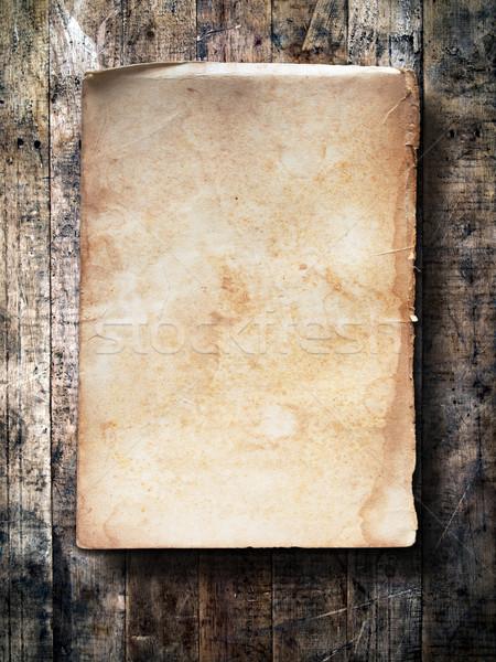 Oud papier grunge hout muur business kantoor Stockfoto © nuttakit