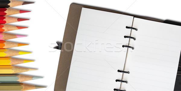Nyitva jegyzet könyv forró színesceruza fehér Stock fotó © nuttakit