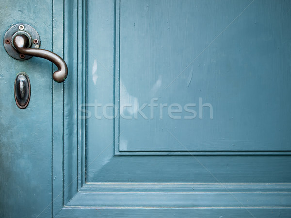 Deur behandelen oude geschilderd Blauw gebouw Stockfoto © nuttakit