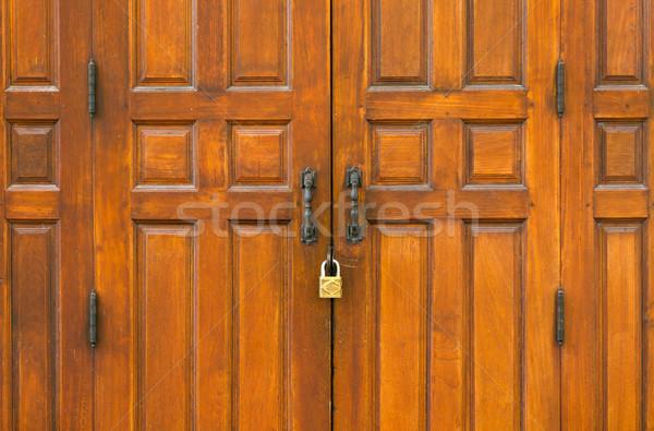 Double wooden gate Stock photo © nuttakit