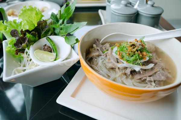 スタイル ヌードル スープ 野菜 表 ディナー ストックフォト © nuttakit