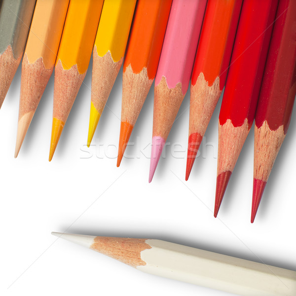 Forró színesceruza fehér felső kilátás iroda Stock fotó © nuttakit