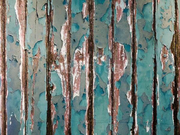 Old green chipping wood wall Stock photo © nuttakit