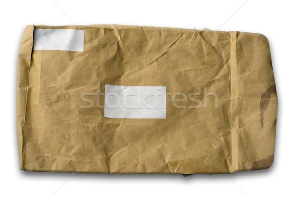 старые грубая оберточная бумага конверт белый Label Сток-фото © nuttakit