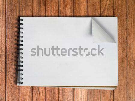 Witte schets boek een pagina hout Stockfoto © nuttakit