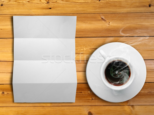 White fold paper and a white coffee cup Stock photo © nuttakit