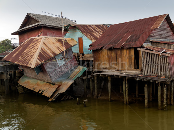 Old wooden house at the canal collapse Stock photo © nuttakit