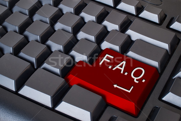 Rood faq knop zwarte toetsenbord computer Stockfoto © nuttakit
