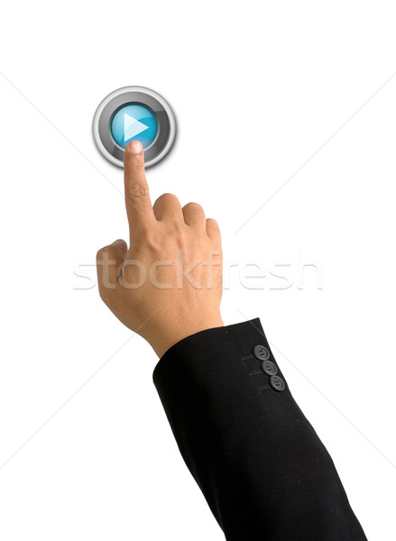 Index finger push play button on white Stock photo © nuttakit