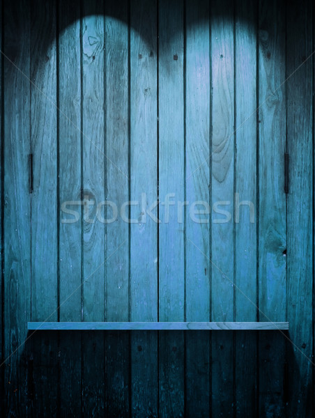 Wood blue Shelf on wall with Top light Stock photo © nuttakit