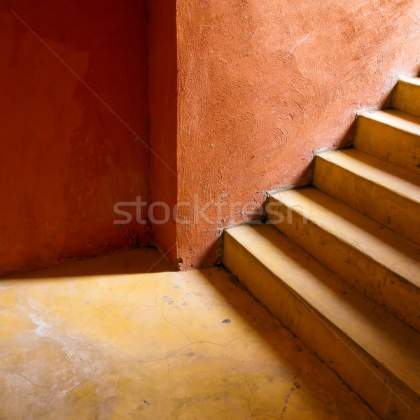 Yellow stair and Orange wall Stock photo © nuttakit