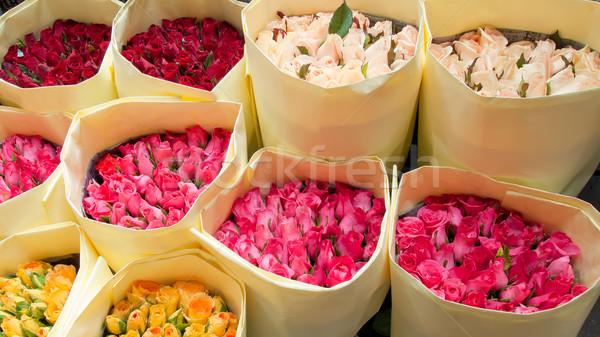 Boeket rozen markt douche roze Stockfoto © nuttakit