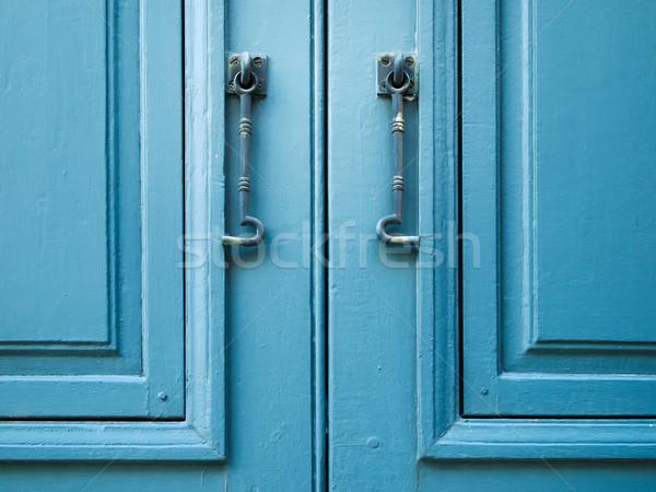 Paar venster haak Blauw hout Stockfoto © nuttakit