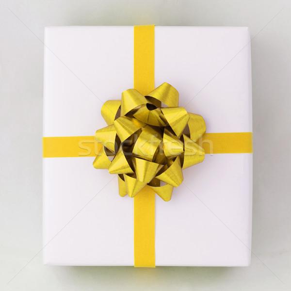 Goud star kruis lijn lint witte Stockfoto © nuttakit