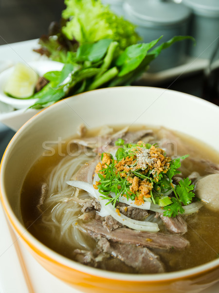 Front of Pho Lao style noodle soup Stock photo © nuttakit