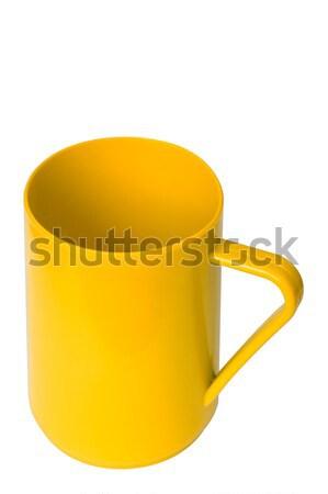Zdjęcia stock: żółty · plastikowe · kubek · biały · odizolowany · ścieżka