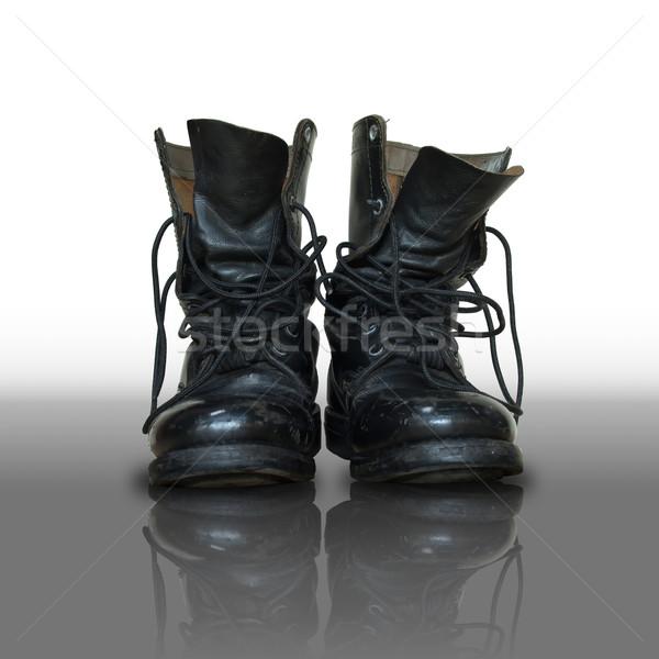 Pár öreg fekete harc bőr láb Stock fotó © nuttakit