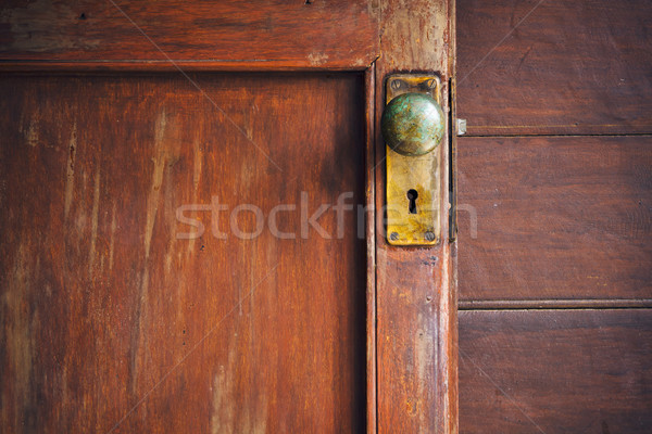 Door knob and keyhole made of brass Stock photo © nuttakit