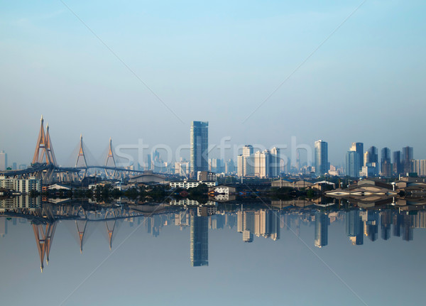 Views of buildings and bridges in Bangkok flood reflection Stock photo © nuttakit