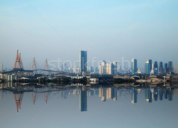 зданий мостами Бангкок наводнения отражение мнение Сток-фото © nuttakit