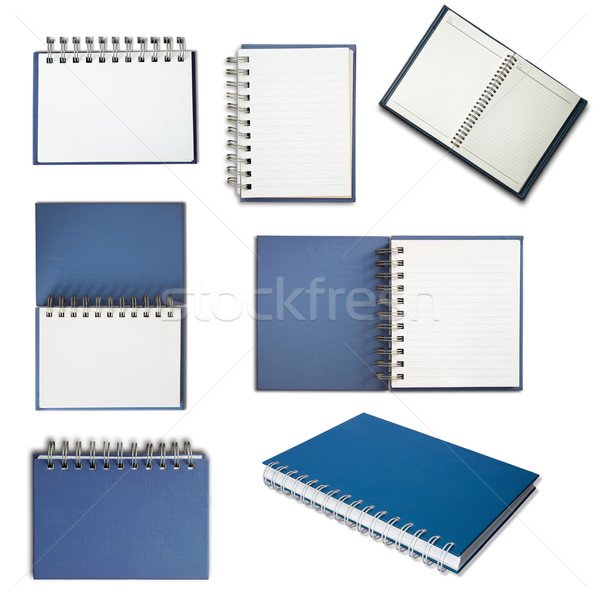Stockfoto: Blauw · dekken · notebook · witte · business · papier