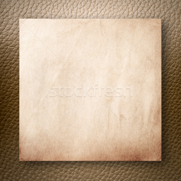 Old Paper On Light Brown Leatherette Stock photo © nuttakit